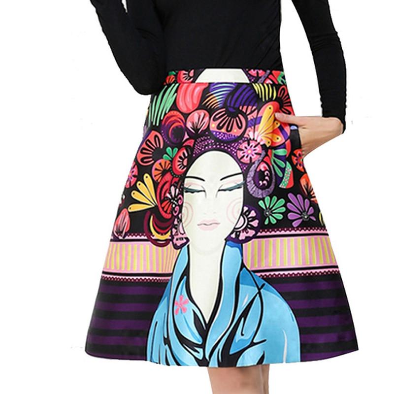 A188 Floral Printed Midi font b Skirts b font Women 2016 Summer Runway font b High