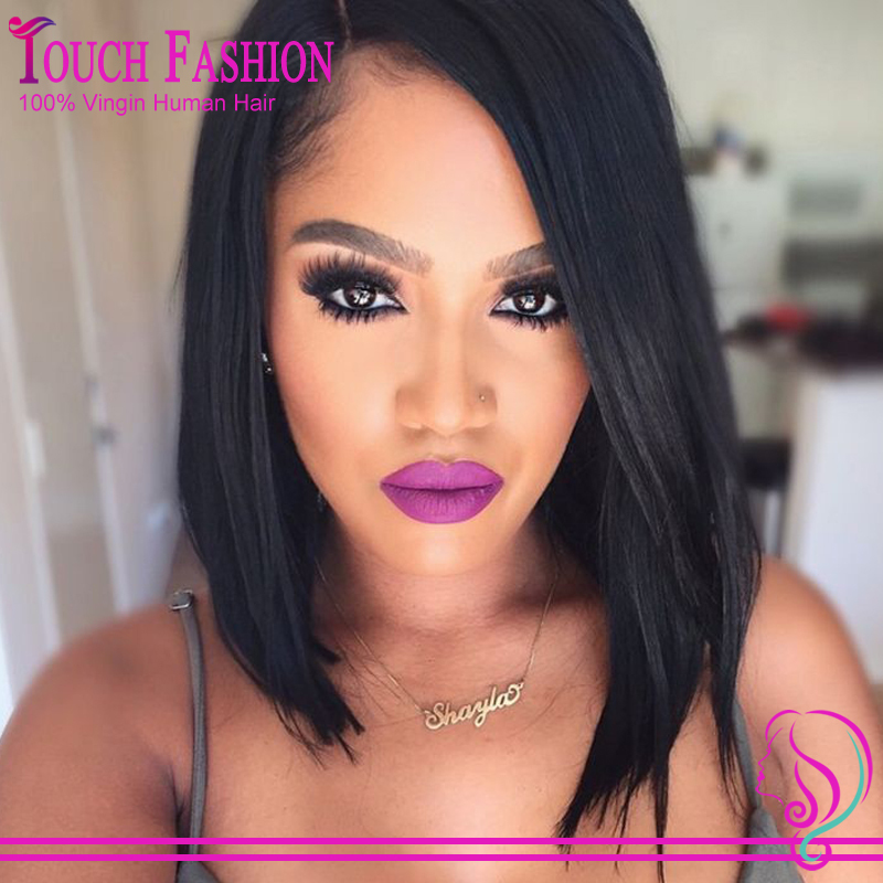 Virgin Brazilian Glueless Short Lace Front Human Hair Bob Wig/Full Lace Human Hair Bob Wigs For Black Women With Side Part(China (Mainland))
