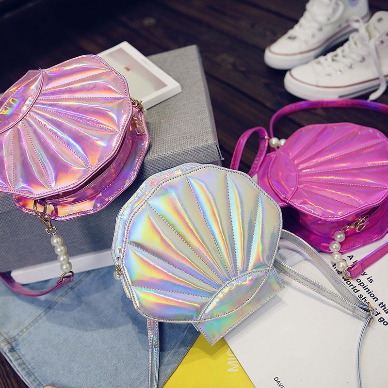 2016 Fashion brand design laser sweet shell chain shoulder bag clutch bag girl's messenger bag handbag flap(China (Mainland))