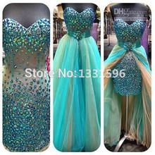Vestidos de novia new Short Front Long Back Asymmetrical Crystal Prom Dresses 2015 Chiffon Sweetheart prom gowns Dress ZHB-00151(China (Mainland))