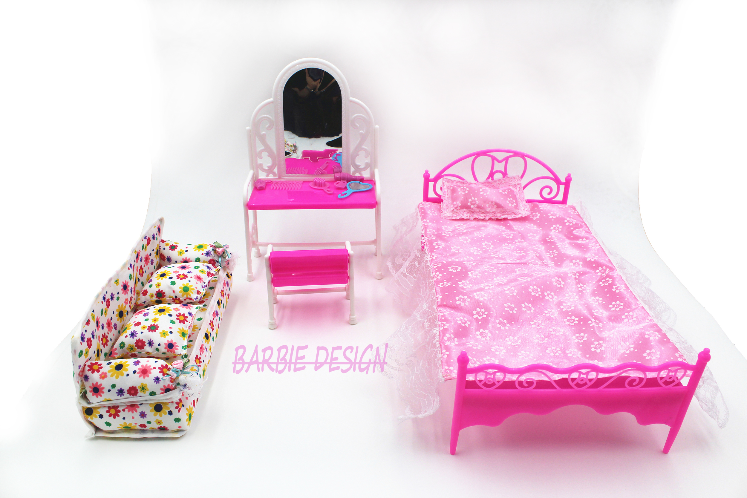 Free Shipping Doll Bed Furniture girls birthday gift dressing table for doll  Baby Flower Cloth Sofa. Online Buy Wholesale barbie toys house from China barbie toys