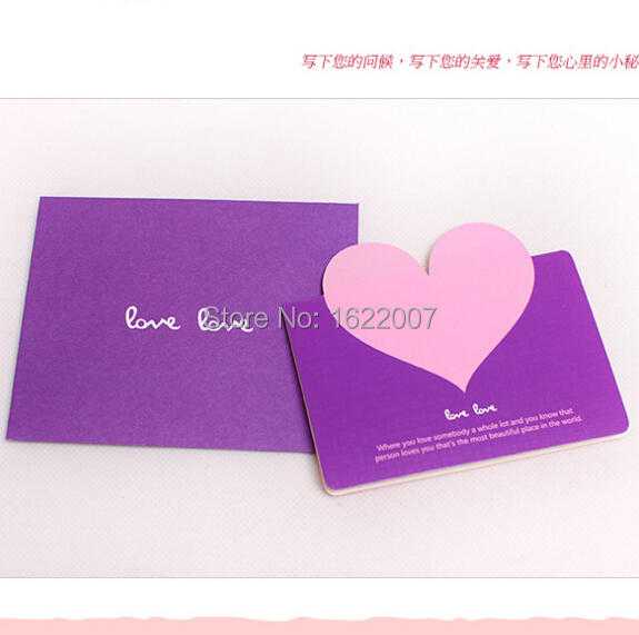 4 Colors for choice Love Heart Shape Creative Postcard bolso etnico decoupage greeting cards Valentine Gift(China (Mainland))