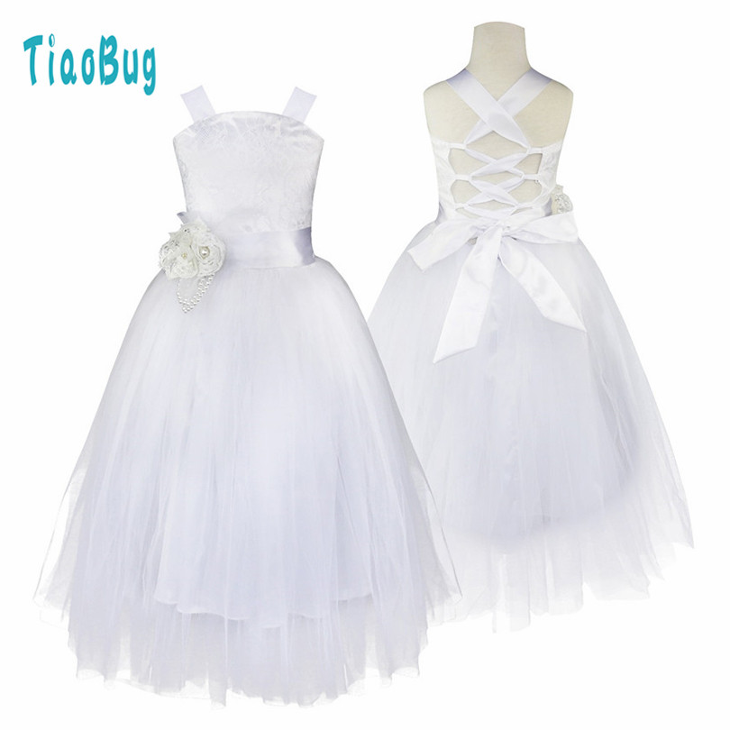 2-14 Teenage Kids Girls Flower Dress for Party and Wedding Floral Girl Dress Ball Gown Prom Crossed Back Formal Maxi Dress