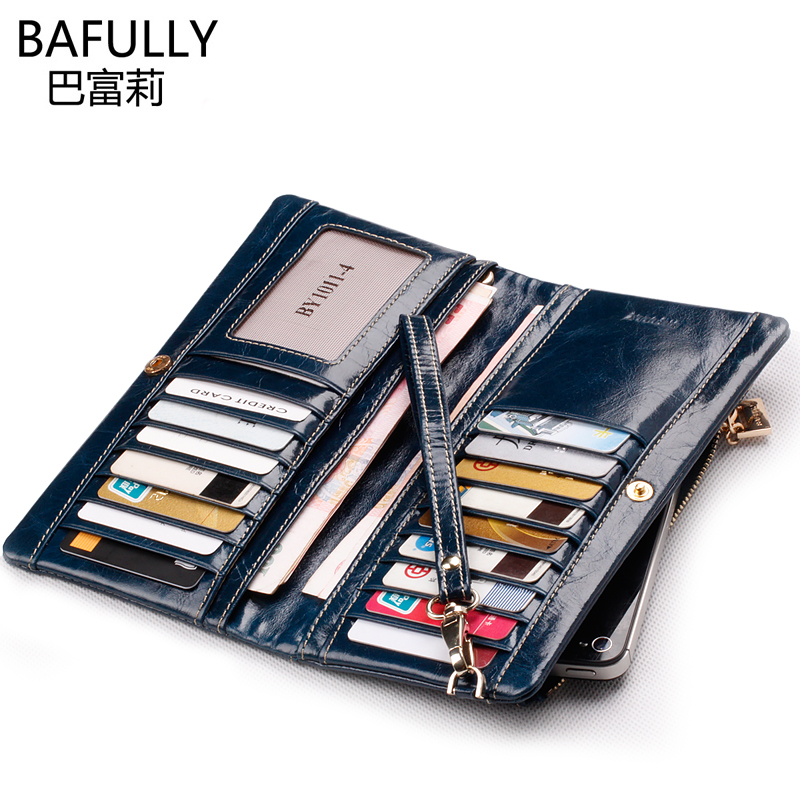 New arrival luxury vintage genuine leather female wallet first layer of cowhide long wallet design women's mobile phone bag(China (Mainland))