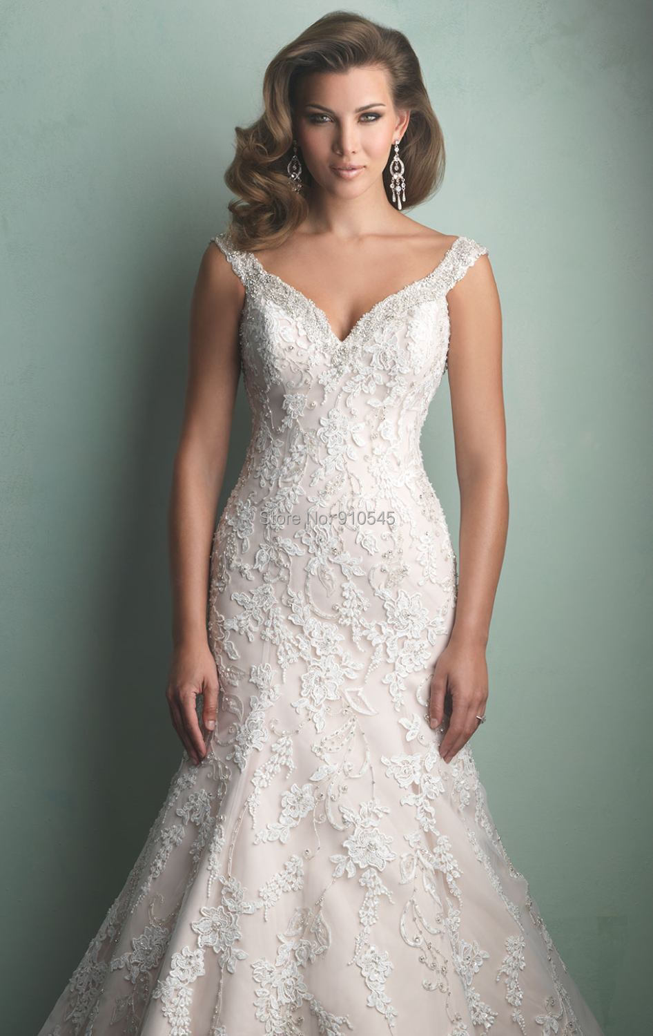 wholesale a line v neckline tulle and lace elegant wedding gown bridal