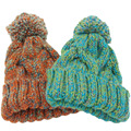 Winter Beanies For Women Knitted Acrylic Hats Mix Colors Skullies And Beanies Knit Big Pompom Caps