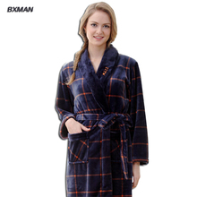 BXMAN Brand Women Bathrobe Womens Thicken Plaid V-Neck Flannel Bathrobes Winter Casual Long Bathrobes Women Sleepwear Robes 222(China (Mainland))