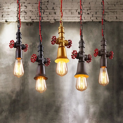 Фотография Loft Style Vintage Pendant Light Fixtures Edison Industrial Water Pipe Lamp For Dining Room Hanging Droplight Indoor Lighting