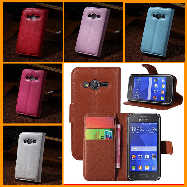 New Stylish Hybrid PU Leather Wallet Handbag Book Cover Case For Flip Samsung Galaxy Ace 4 Ace4 NXT G313h Case Shell(China (Mainland))