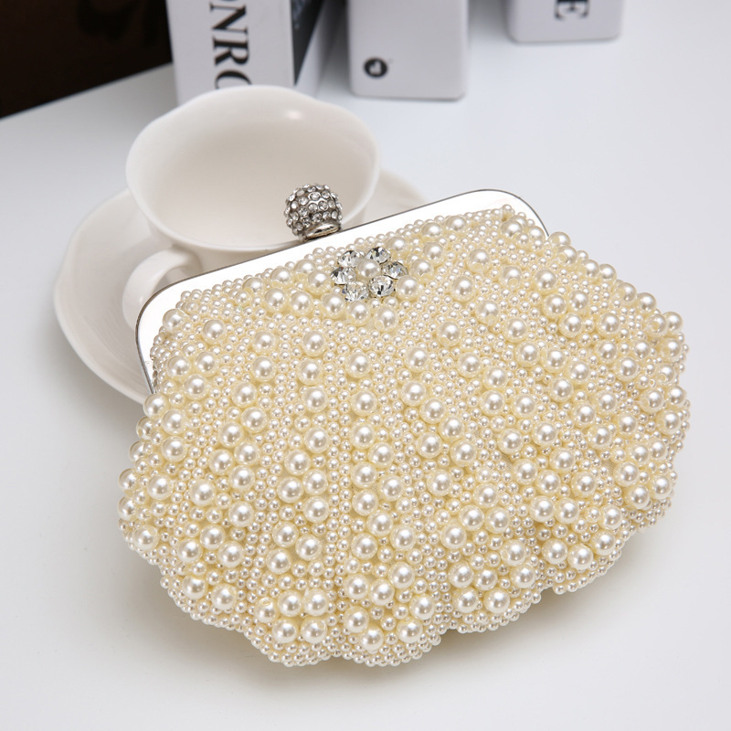 2014 New Europe and America tide pearl rhinestone noble evening bag clutch bag clutch evening bag dinner hot air strikes(China (Mainland))