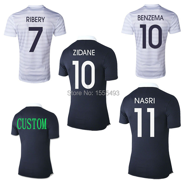 2014 france home away blue soccer jersey thai quality france BENZEMA GIROUD ZIDANE france jersey football uniforms shirts(China (Mainland))