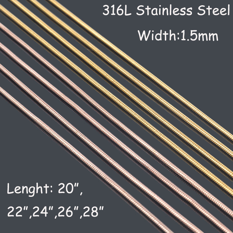 1.5mm*51-71cm 18K Gold/Rose gold round snake chains necklaces,men 316L stainless steel necklace chains free shipping BT081(China (Mainland))