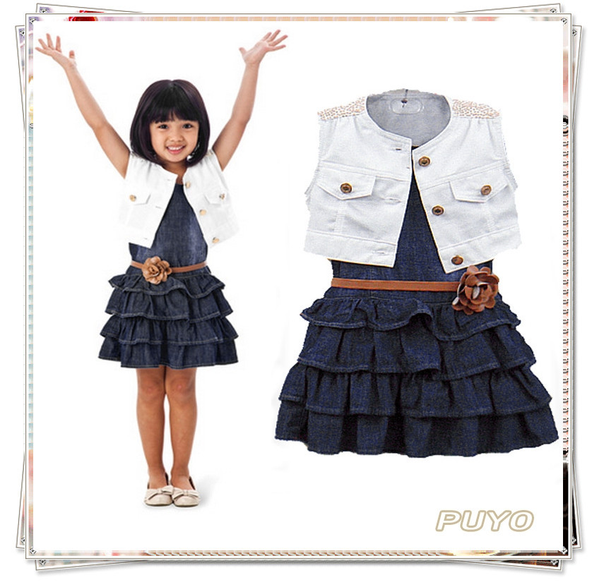 Top Quality Baby Girl Kids Outfit Clothes Cotton Jacket + Denim Layered Toddler tutu Dress for girls child SV001188#9(China (Mainland))