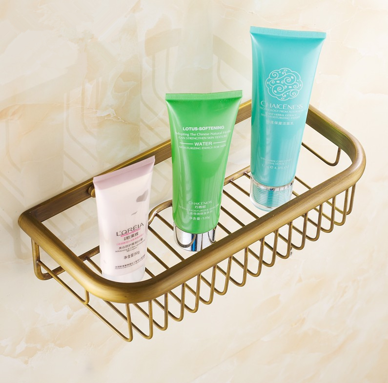 2016 Bathroom Accessories,Antique Brass Shower Shampoo&Toilet Storage Shelf /Brass Material Wall Mounted Fashion Bathroom Basket(China (Mainland))