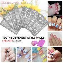 8pcs New Arrival set 3 Nail Art Image Printing Beauty Designs Women Tips Nails Stamping Plates Nail Art Polish Templates