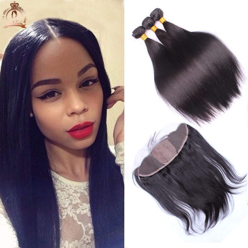 7A Malaysian Silk Straight Virgin Hair With Silk Frontal Closure 3 Part 4Pcs 13x4 Silk Base Lace Frontal Closure With Bundles<br><br>Aliexpress