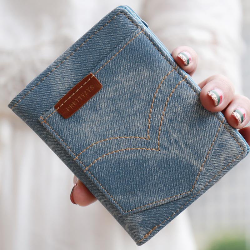 New Fashion Retro Jeans Wallet Denim PU Leather Multifunction Zipper Coin Purse Cards Holder For Girls Women Short Wallet<br><br>Aliexpress