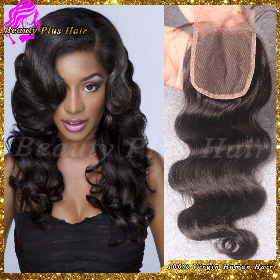 6A Cheap Malaysian Hair Closures Freestyle Lace Closure Bleached Knots Human hair Middle 3 invisible part closure Free Shipping(China (Mainland))