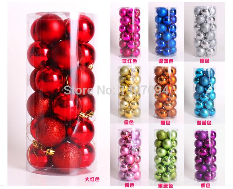 2016 Rushed Real Noel 24pcs/lot Popular Christmas Decoration 4cm Glossy Ball Matte Glitter Powder /plated Matt Light Plastic(China (Mainland))