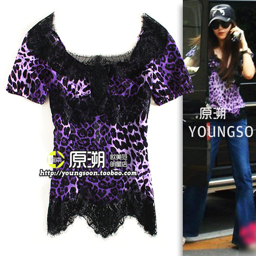 yuansu Store special offer 2014 Blouse Fashion Brand leopard print for Grain Lace Top Short-sleeve Round Neck Sexy Star Chiffon(China (Mainland))