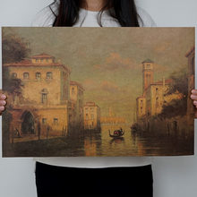 OLOEY 1PC Resorts Vintage Water Town Venice Seascape Oil Painting On Canvas Poster Modern Wall Art Pictures For Living Room(China)