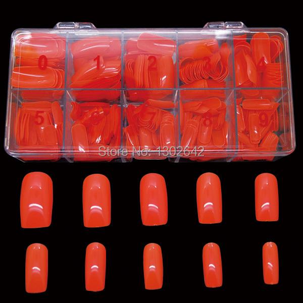 #10FN 500pcs/box Free shipping Mix 10 sizes orange color Fake Nails Tips False Nail Art Tips Cover Shiny Artificial Nail(China (Mainland))