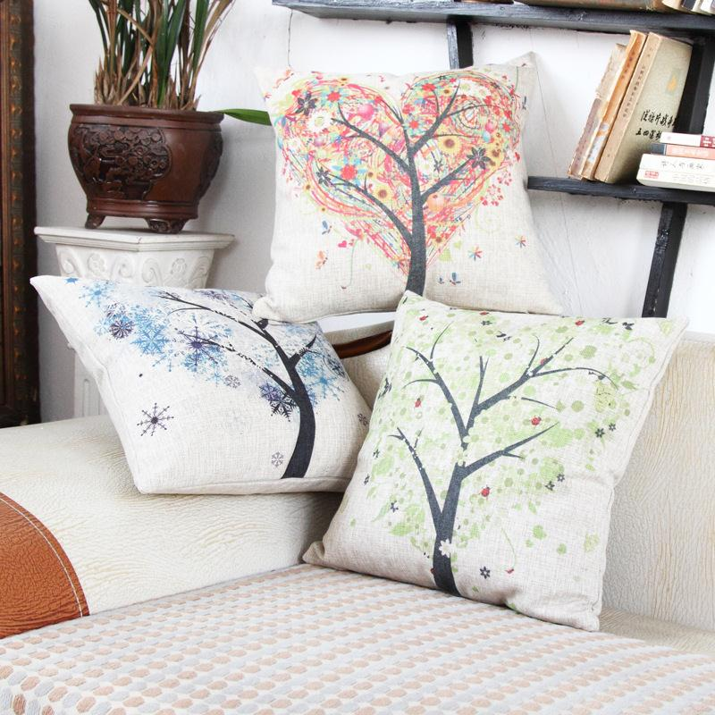 Free Shipping Nodic Spring Tree Cotton Linen Fabric Decorative Cushion 45cm Hot Sale New Home Fashion Christmas Gift Pillow