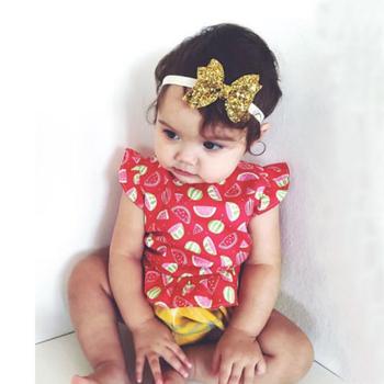1 X Baby Girl Newborn Gold Silver Glitter Flower Hairband Headband Bowknot Hair Band Accessories