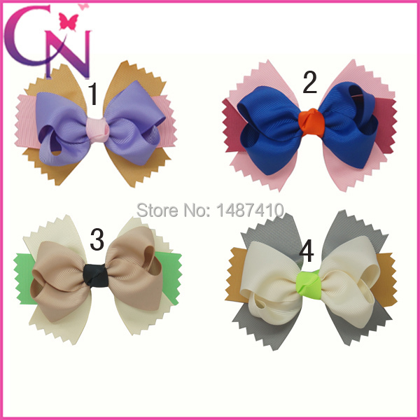 2014 New Fashion Girls Hair Bow Accessories,Patchwork Hair Barretted Cildren,DIY Hair Clips 5pc/lot Free Shipping CNHBW-1310087(China (Mainland))