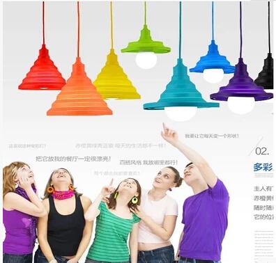 PVC Pendant Light Safty Lampshade Design Colorful Hanging Lamp Changeable Lampshade Pendant Bulb Holder Lustres De Sala(China (Mainland))