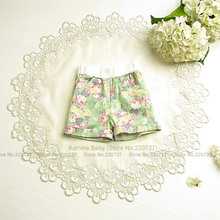 [Aamina] Floral baby girls shorts pants, summer baby girls clothes,wholesale baby boutique clothing, new kids clothes 5pcs/lot