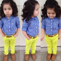 ST100 Free Shipping 2014 new arrival fashion kids clothes girls autumn shirt + yellow pants 2pcs children clothing set girl set