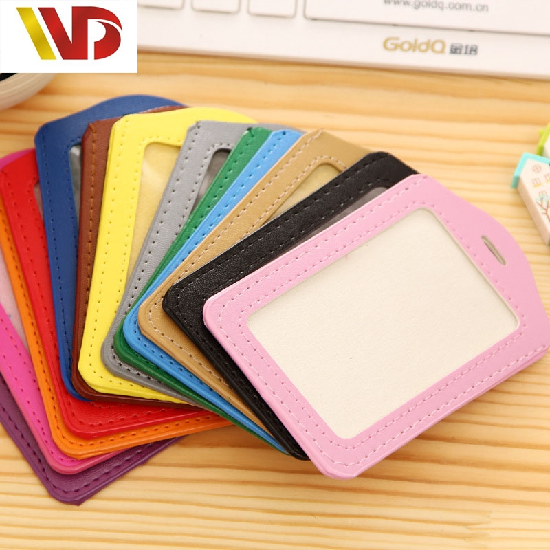 Bank Credit Card Holders Women Men PU Leather Neck Strap Card Bus ID Holders Candy Colors Ldentity Badge With Lanyard wholesale(China (Mainland))