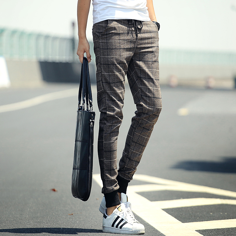 Plaid Men Pants 2015 New Spring Hip Hop Fashion Brand Joggers Sweatpants Harem Pants Men Slim