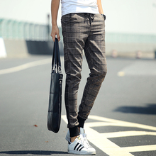 2015 plaid casual male long trousers men's clothing harem pants skinny pants