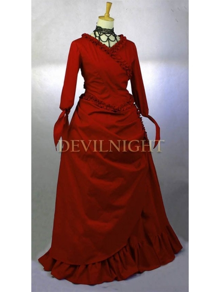Red Vintage Victorian Gown