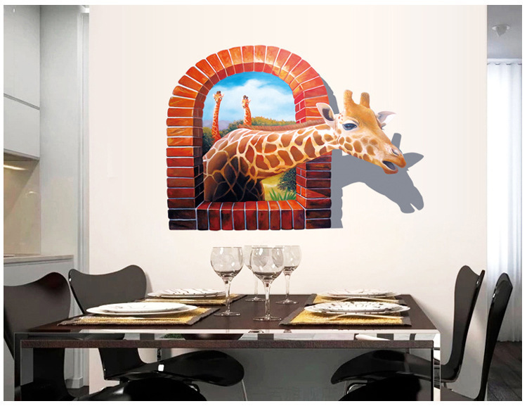 New Giraffe Cartoon Wall Stickers 3d Background Matte Effect Removes Fashion The Living Room