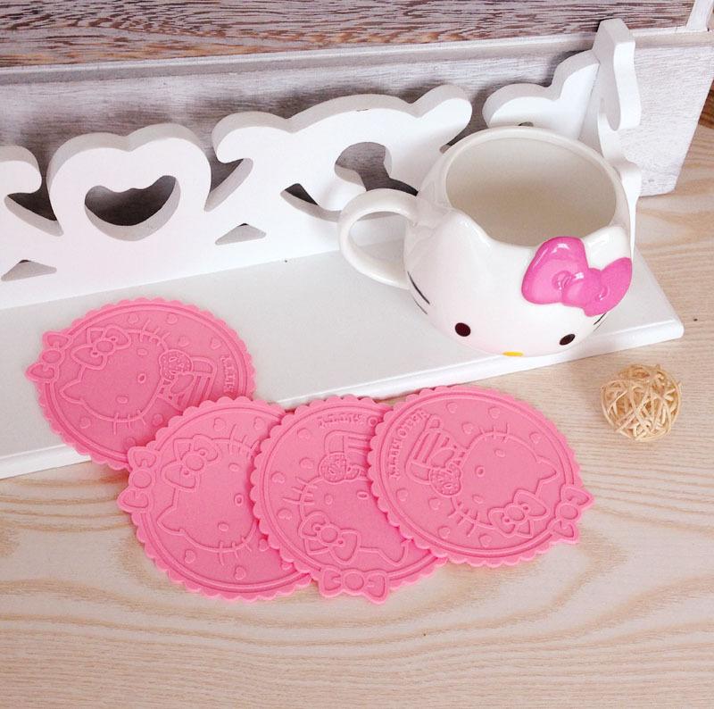 5pcs Hello Kitty Silicone Anti Slip Kawaii pink Cup Mat Dish Bowl Placemat Coasters Base Kitchen Accessories Home Decoration %(China (Mainland))