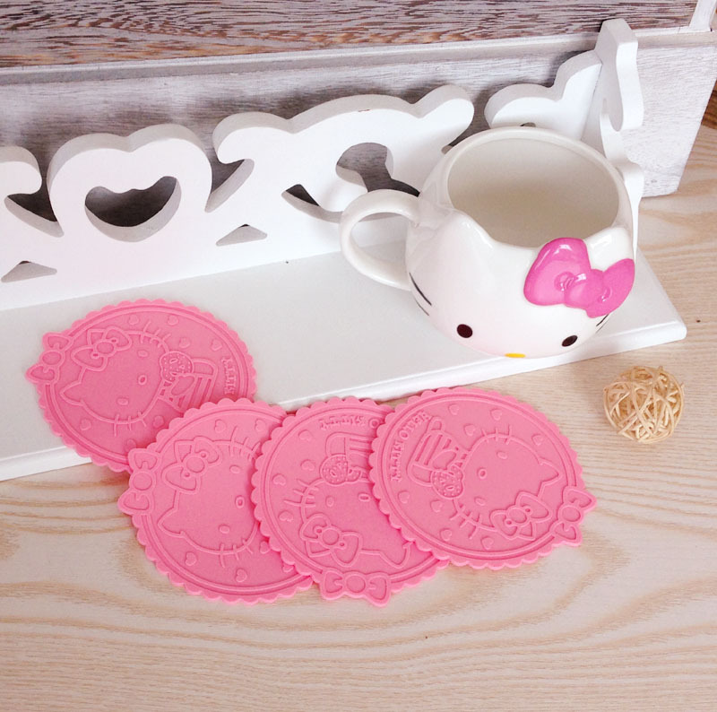 5pcs Hello Kitty Silicone Anti Slip Kawaii pink Cup Mat Dish Bowl Placemat Coasters Base Kitchen Accessories Home Decoration %(China (Mainland))