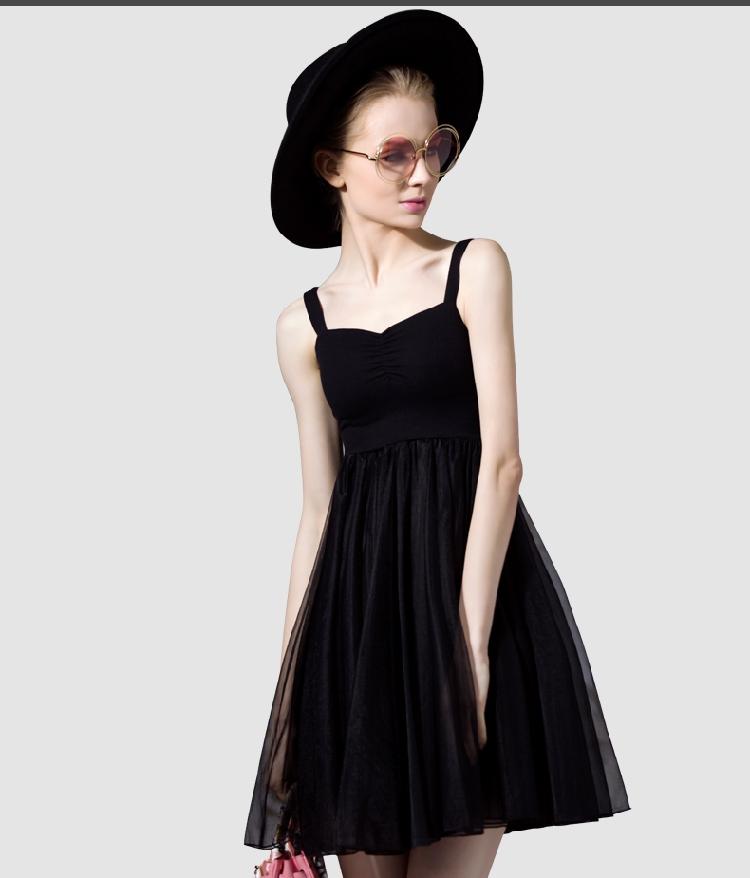 France brand clothing women classic black mini dress designs 2016 designers fashion elegant summer pure color short gauze dress(China (Mainland))