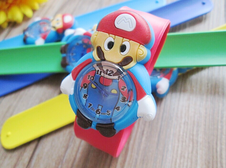 Wholesale 100pcs/lot NEW super Mario kids watch Wristwatches With slap watch gift
