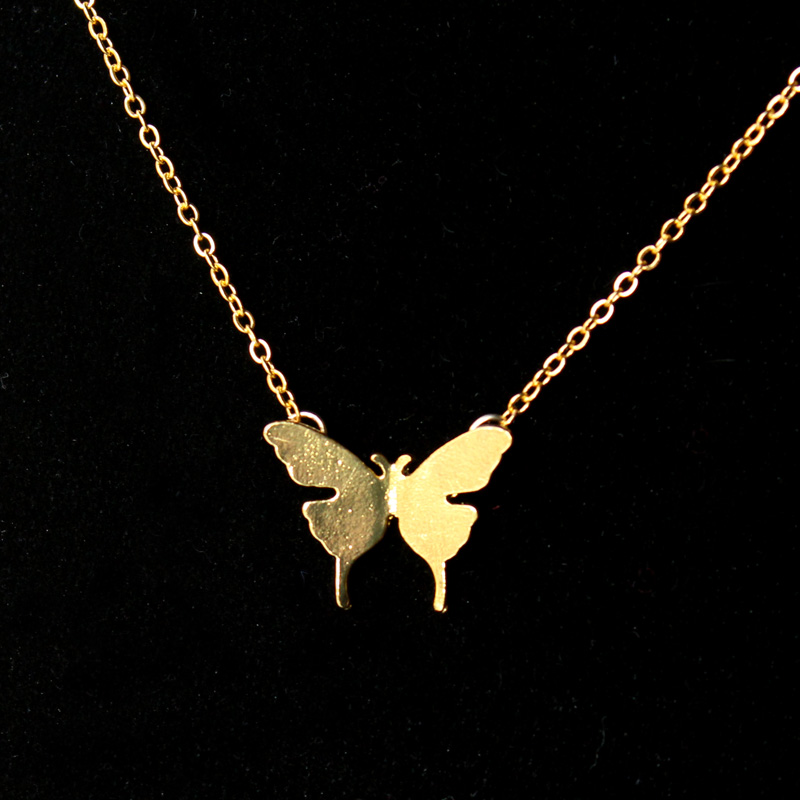 2015 Gold and Silver Fashion Cute Butterfly Pendant Necklaces for Women Simple Animal Women Long Necklace(China (Mainland))