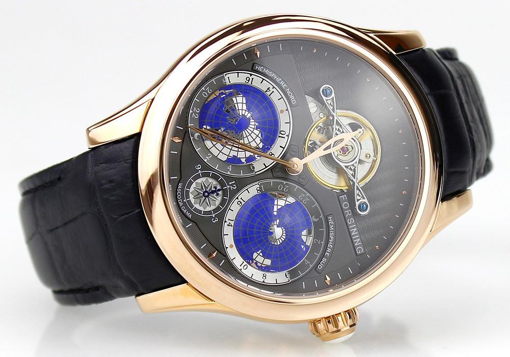 2016 Forsining Земли Реального Турбийон многомерный Дизайнер Мужские Часы Лучший Бренд Класса Люкс Японский Движение Montre Homme