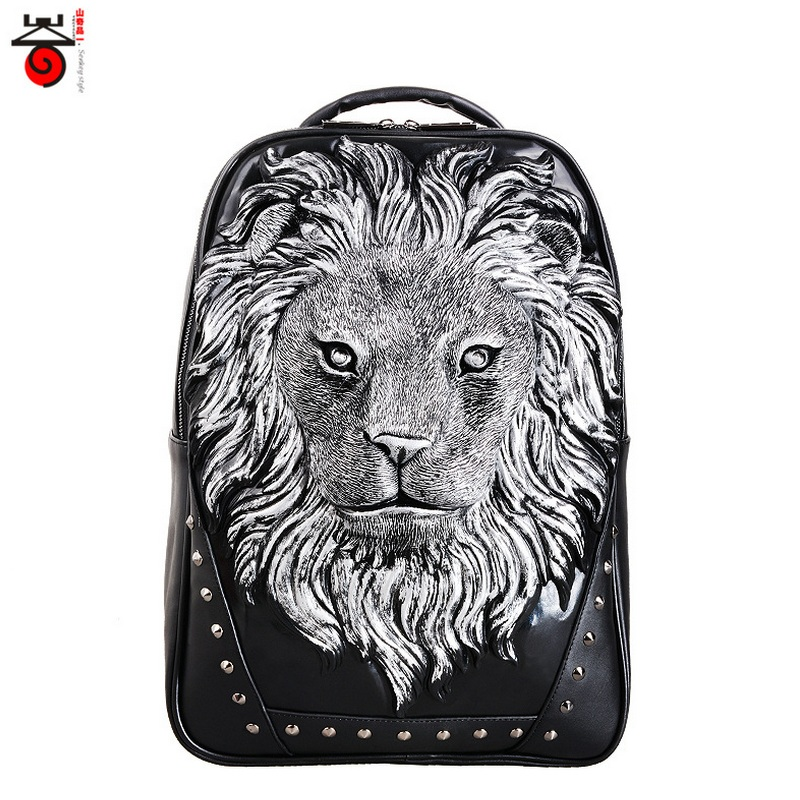 3D Tiger Animal Print Cartoon PU Leather Backpack Bookbag Men Trendy Casual Day pack Funny Kids School bags Teens 16<br><br>Aliexpress