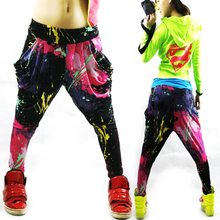 New Fashion Brand Jazz harem women hip hop pants dance doodle spring and summer loose neon patchwork candy colors sweatpants(China (Mainland))