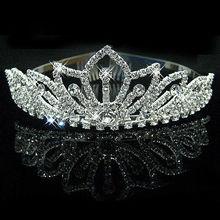 2016 New Fashion Princess Bride rhinestone crystal tiara crown wedding accessories(China (Mainland))