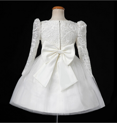 girl lace dress fashion 2015 new autumn white big bow children dresses tulle birthday girls wedding cute Children's clothes(China (Mainland))