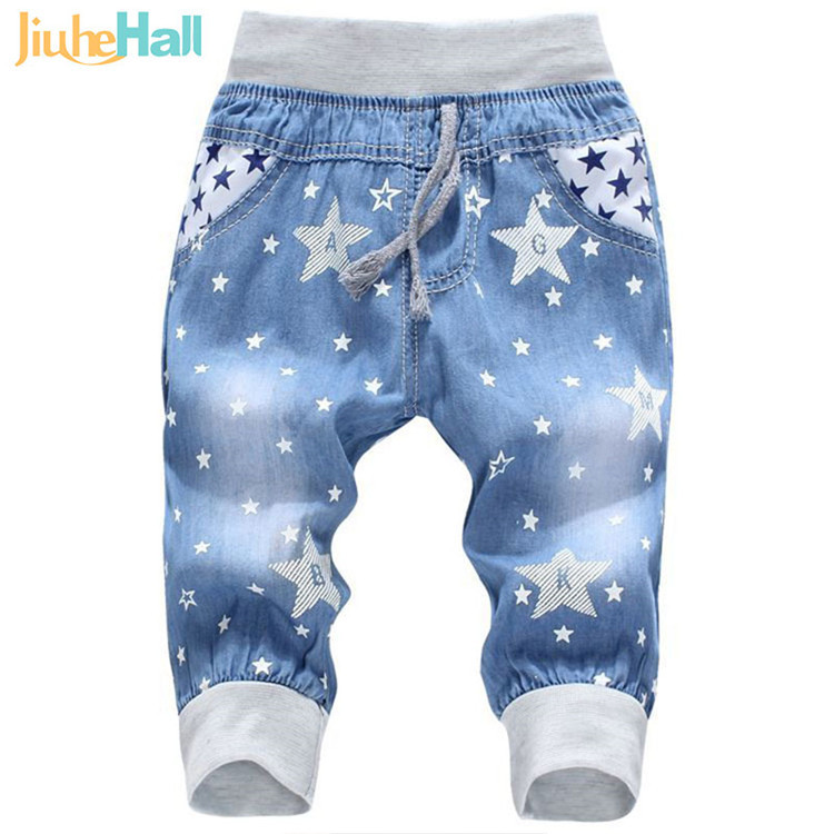 Hot Sale! 2016 New Kids Jeans Elastic Waist Straight Bear Pattern Denim Seventh Pants Retail Boy Jeans For 2-5 Years WB142(3)