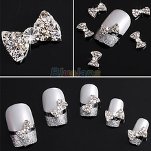 (Min.  Mix Order) 3D Clear Alloy Rhinestone Bow Tie Nail Art Slices DIY Decorations Bowknot