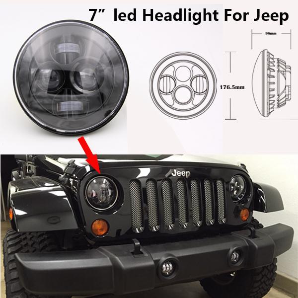 7inch 40W CREE H4 LED Headlights Black/Chrome Head Light For Jeep Wrangler JK Unlimited 4 Door Land Rover Defender 2 Door(China (Mainland))